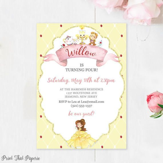 Beauty And The Beast Birthday Invitation Belle Invitation Beauty And The Beast Invite Belle Birthday Invi Birthday Invitations Belle Birthday Invitations