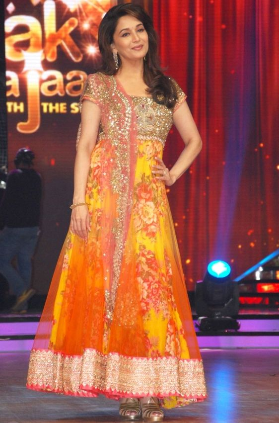 Madhuri Dixit in Floral Design Pink Orange Anarkali Suits with Rich Heavy Border at Launch Jhalak Dikhla Jaa 2013