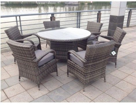 paradise 6 seater round grey rattan garden furniture dining set