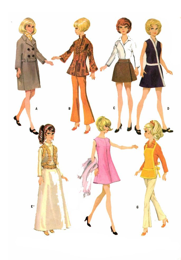 1960s Vintage Barbie Doll Clothing PATTERN 9065 Mandarin Collar Jacket Cobbler Apron Double breasted Coat Wrapped Dress quality PHOTOCOPY by BlondiesSpot on Etsy