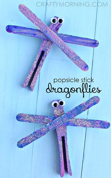 Popsicle Stick Dragonfly Spring Craft for Kids | CraftyMorning.com