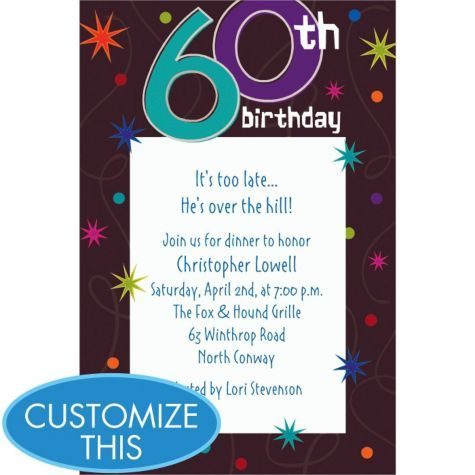 37 best 60th images on pinterest 60 birthday 60th anniversary and the party continues birthday custom invitation birthday invitations birthday milestone birthday birthday party supplies categories party city stopboris Images