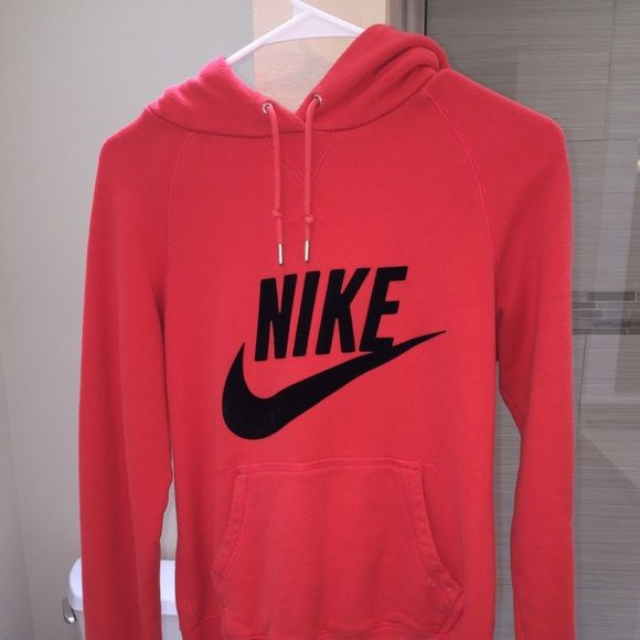 Red Nike Hoodie!! Red Nike hoodie with a black velvet Nike logo, it is very comfortable and can be worn on a run or just with some leggings and sneakers for a athletic outfit, very out together look and is a must have!! Nike Tops Sweatshirts & Hoodies