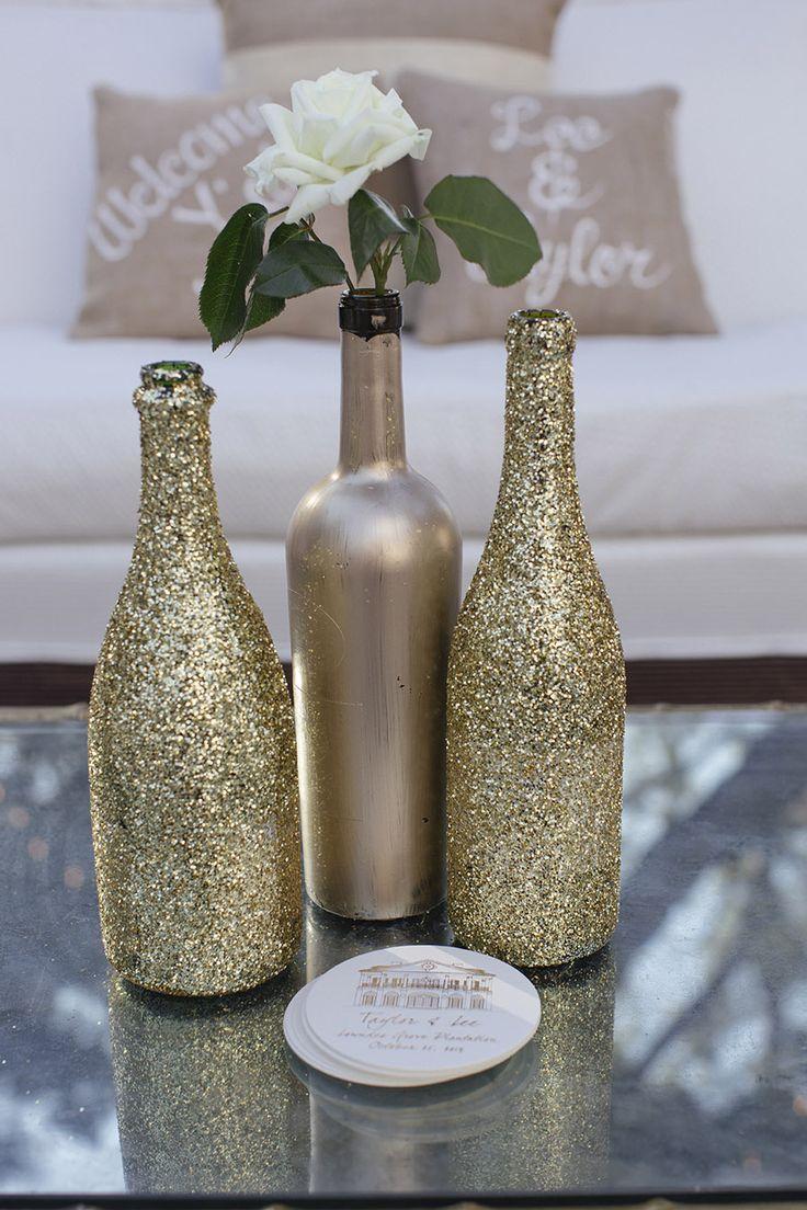 DIY Vases: Glittered + Painted Bottles