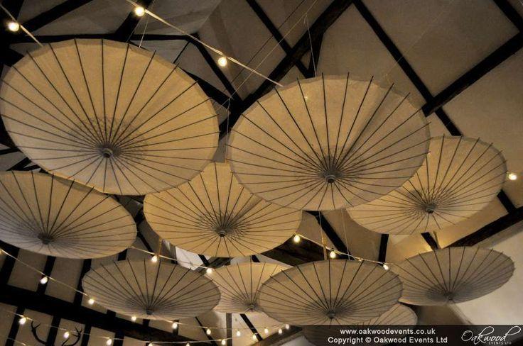 Paper umbrellas with festoon lights at Hillfields Barn