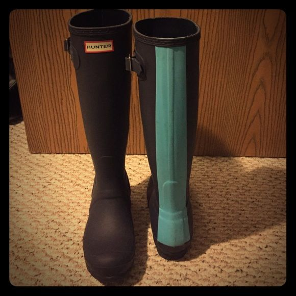 Navy hunter boots Navy tall boots with a sky blue stripe. Barely worn Hunter Boots Shoes Winter & Rain Boots