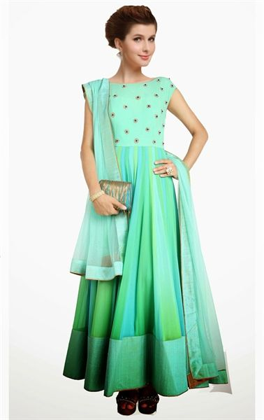 Sparkling Aqua Blue and Cyan Blue Color Ready Made Anarkali Suit