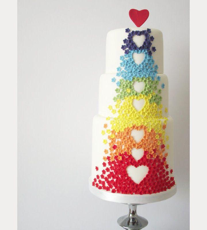 Rainbow Heart Wedding Cake ~  we ❤ this! moncheribridals.com