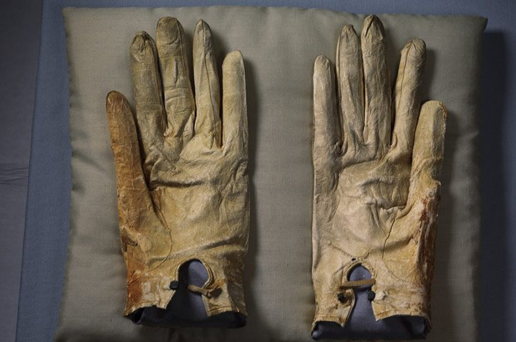 The gloves that Abraham Lincoln wore the night he was assassinated, Abraham Lincoln Presidential Library and Museum, Springfield, Illinois
