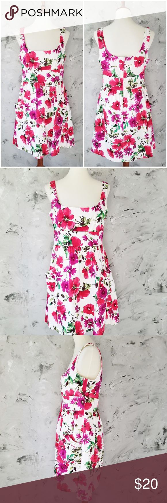 """B SMART vintage 90's Raspberry Floral Sun Dress Vintage 1990's B. Smart Pink Botanical Jumper Cocktail Sun Dress Women's Size 14 Cotton/Spandex In very good condition, gently worn, very very light underarm staining.  Wonderful big pockets!  Approximate measurements:  Length (shoulder to hem) - 35"""" Bust/Chest- 36"""" High Waist – 32""""  DISCLAIMER:  This is a second hand vintage item and so being may come with some stains, wear or undetected defects. I have tried to describe and photograph each…"""