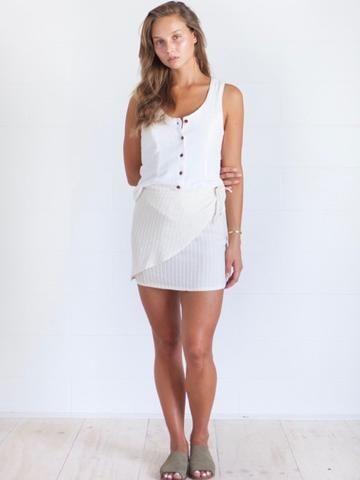 Yoli and Otis Wrap Skirt | Herbal Plant Dyed Organic Cotton – Salt Living or online at www.saltliving.com.au #saltliving #yoliandotis #organic #womenswear