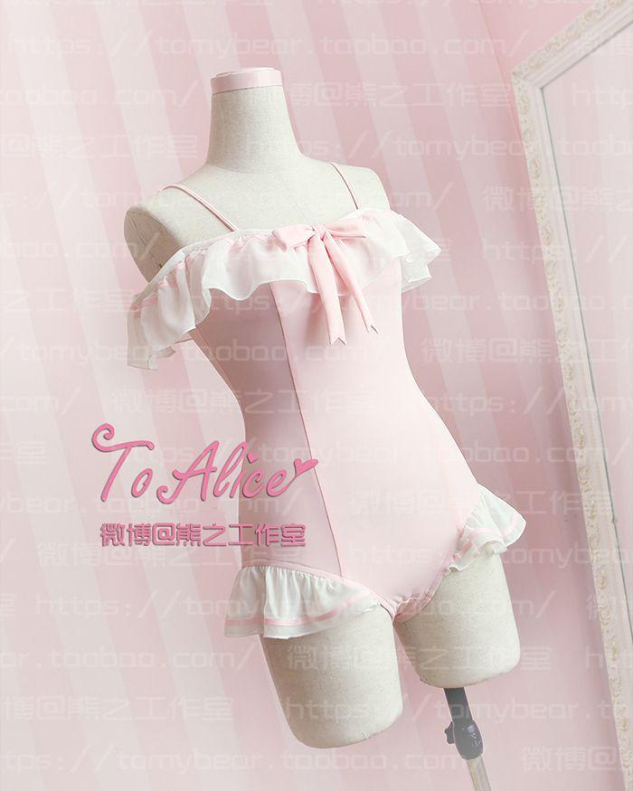 SUKUMIZU Kawaii Pink Sexy Slim Fit Falbala Japonés Adornos De Gasa Traje de Baño de Las Mujeres de Cosplay en   de   en AliExpress.com | Alibaba Group