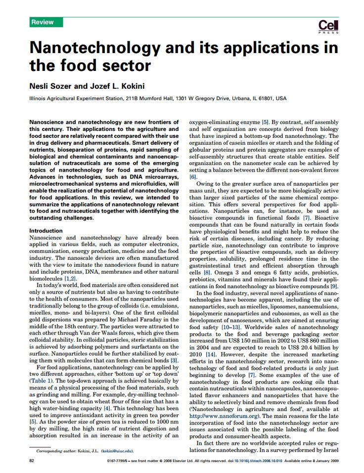 applications of nanotechnology in agriculture and food sciences