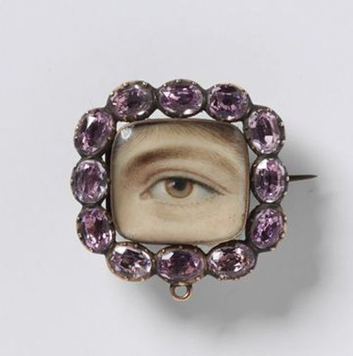 Cushion Shaped Eye Miniature Set in a Brooch with Pink Stone Frame c.1800. © Victoria and Albert Museum, London.