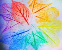 Just put a leaf upside-down under a sheet of paper and rub your crayon until the leaf appears, then watercolor over the top, then cut out.
