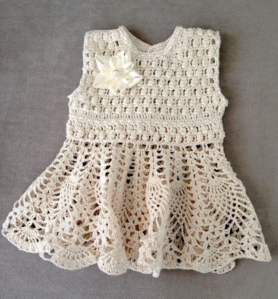 FINISHED - Baby Dress, Crochet Baby dress with beads, Baby Dress with beads, Handmade baby Cotton Dress