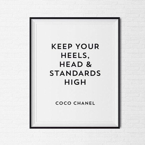 Coco Chanel Frame Quote Tumblr Pintrest Typographic Print Y Art Wall Decor Makeup Room Framed