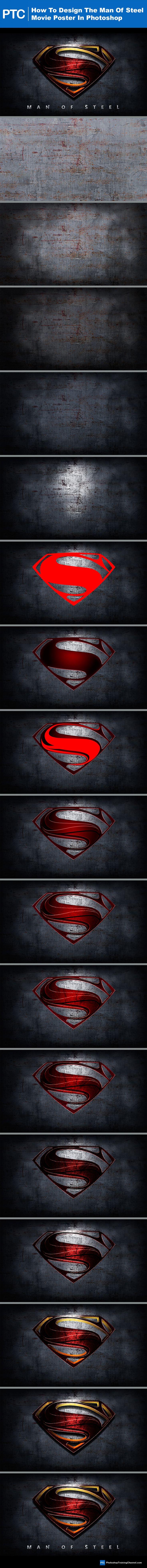 Design The Superman Man Of Steel Movie Poster In Photoshop. #Photoshop #Tutorial #Graphic #Design http://photoshoptrainingchaneel.com