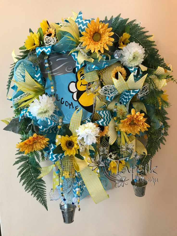 Summer Wreath, Sunflower Wreath, Welcome Wreath, Mason Jar Wreath, Front Door Wreath, Flower Wreath, Deco Mesht Wreath, Sunflower Home Decor by TapsikDesign on Etsy