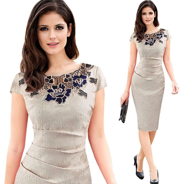 Elegant Vintage Embroidery Dresses Delicate Dobby Fabric Bodycon Evening Dresses