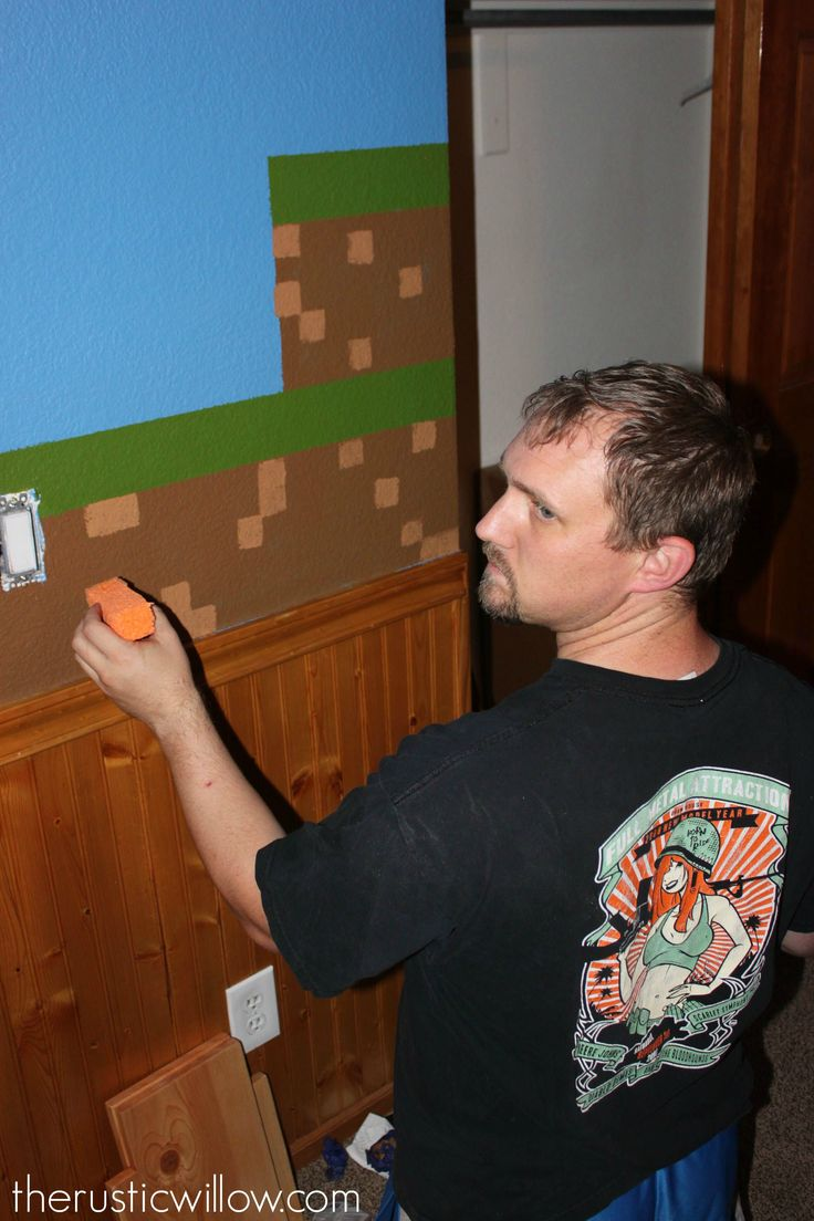 DIY Sponge Painted Minecraft Walls - The Rustic Willow