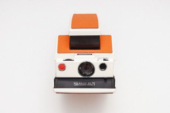 Polaroid SX-70 SLR Instant Film Camera White / Orange  by ohsocult