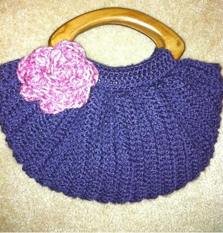 Crochet Bag Bottom : Crochet Purple Fat Bottom Bag with Wooden Handles - Large Size