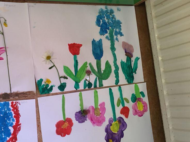 Bloemen schilderen #verf #madelief #tulp