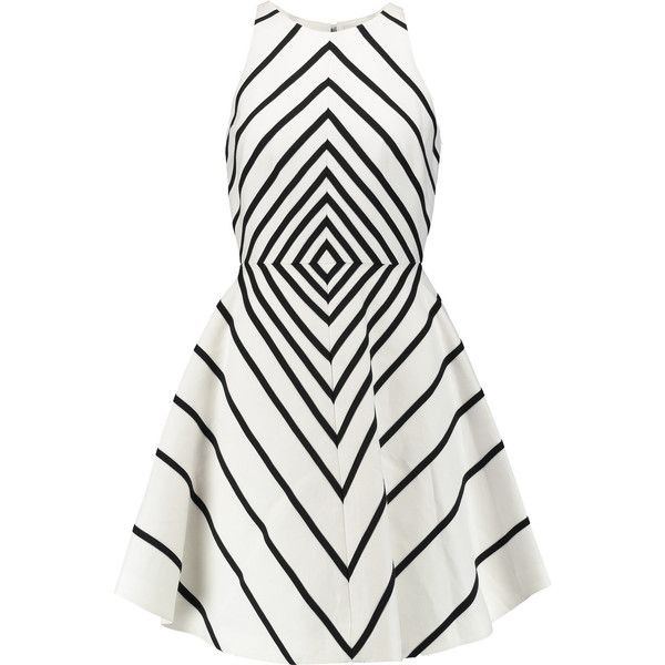 Halston Heritage Appliquéd cotton and silk-blend mini dress (£189) ❤ liked on Polyvore featuring dresses, white, white mini dress, loose fitting dresses, loose fitted dresses, short loose dresses and loose mini dress