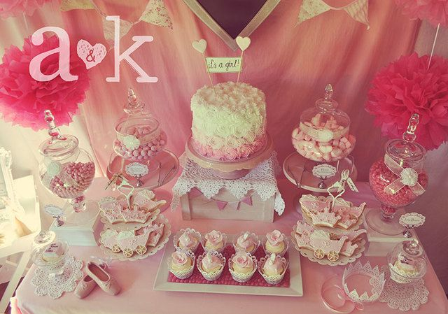 Check out this gorgeous dessert table at a girl baby shower! See more party ideas at CatchMyParty.com! #babyshower #partyideas