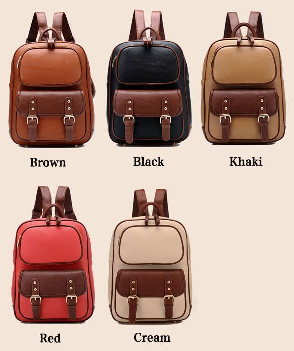 Retro British Style School Backpack.. love that brown and red backpack!