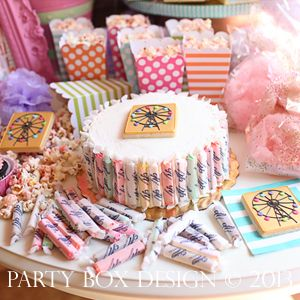 boardwalk, boardwalk party, creative cake ideas, salt water taffy, girl party themes via Party Box Design