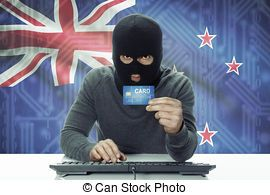 Dark-skinned hacker with flag on background holding credit card - New Zealand
