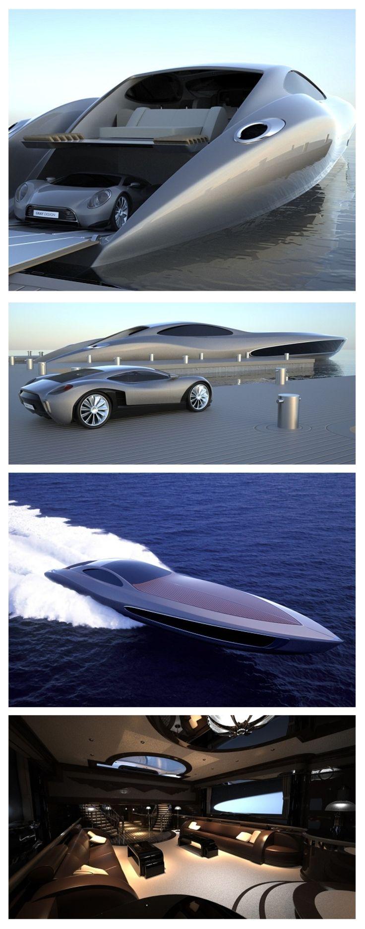 Iate ultra luxuoso que já vem com carro ultra exclusivo de brinde.