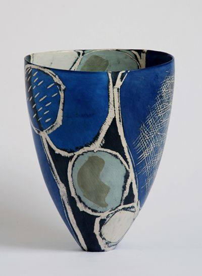 Ceramic vase by Carolyn Genders, an award-winning East Sussex artist. She embraces the ancient technique of coiling to create inimitable hand-built contemporary ceramics.