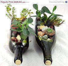 Wine bottle planters