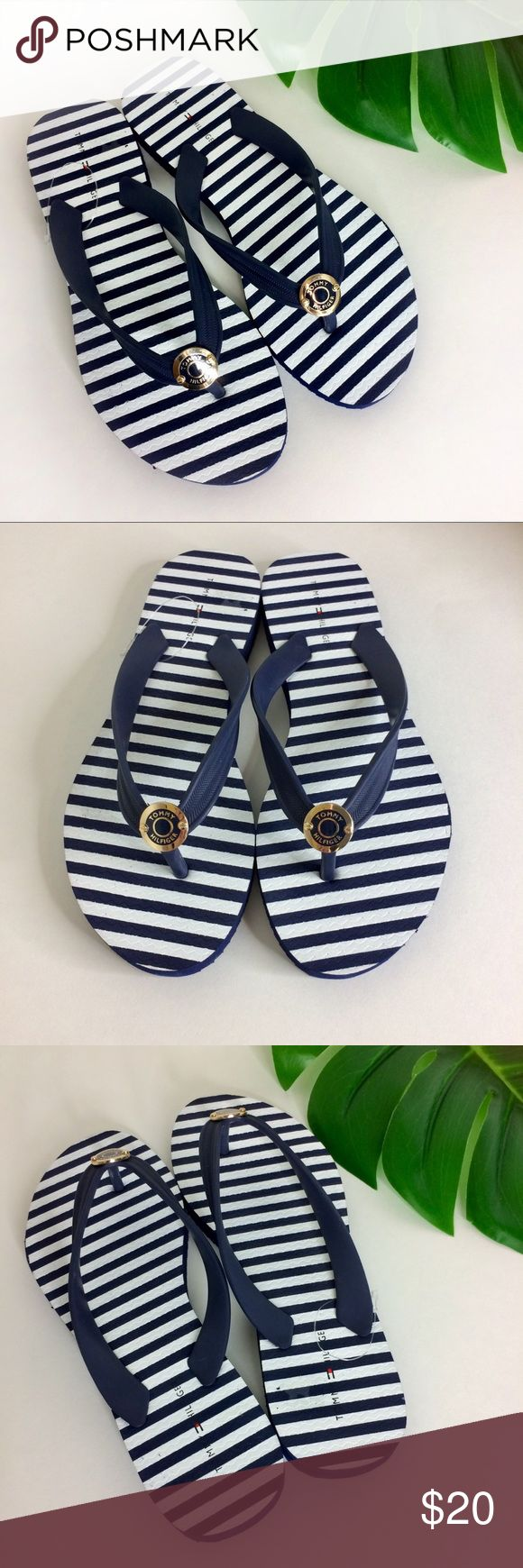 NWOT Tommy Hilfiger Striped Nautical Flip Flops 8 New without tags striped nautical flip-flops, women's size 8. These adorable flip flops shout spring/summer and are perfect for vacationing, shopping trips with the girlfriends and wearing beach-side. Pair these flip flops with Bermuda shorts and a flowey, white peasant blouse for a great daytime look. Pairs great with gold jewelry as well. Made in China/Man-made material/Smoke and pet-free home. Tommy Hilfiger Shoes Sandals