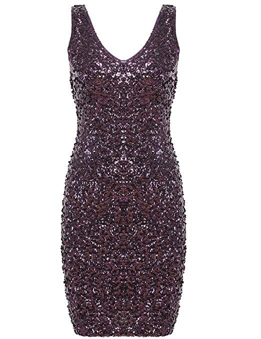 a9585c5bf3 Amazon.com  PrettyGuide Women s Sexy Deep V Neck Sequin Glitter Bodycon  Stretchy Mini Party Dress  Clothing. Purple
