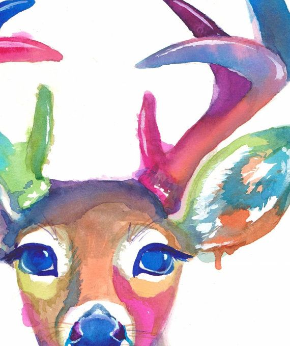 A bright and colorful deer to cheer up any mood. Consider just a picture of a deer head, rather than a stuffed deer head. Those are just creepy! If you like this picture, be sure to check out my new cool colored deer head painting: https://www.etsy.com/listing/206701820/colorful-deer-no-2-abstract-animal  _______________________________________  Archival prints will last a lifetime. They are printed with professional grade ink that is fade resistant and water resistant. Printed on…