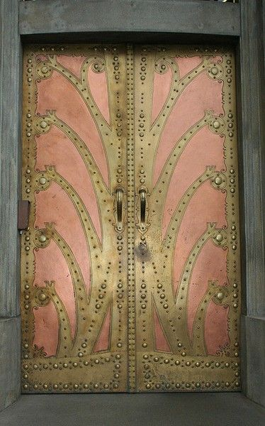 Art nouveau door (detail from the Goethe Institute in Prague) Perfect terracotta color