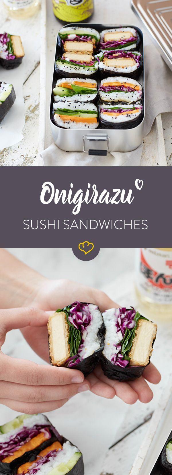 Stäbchen brauchst du nicht! Ab heute landet dein Sushi als handliche, vegetarische Sandwisches in deiner Lunchbox - perfekt zum Snacken für unterwegs.
