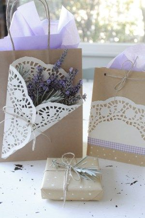 Brown paper bag and lavender wrapping ideas