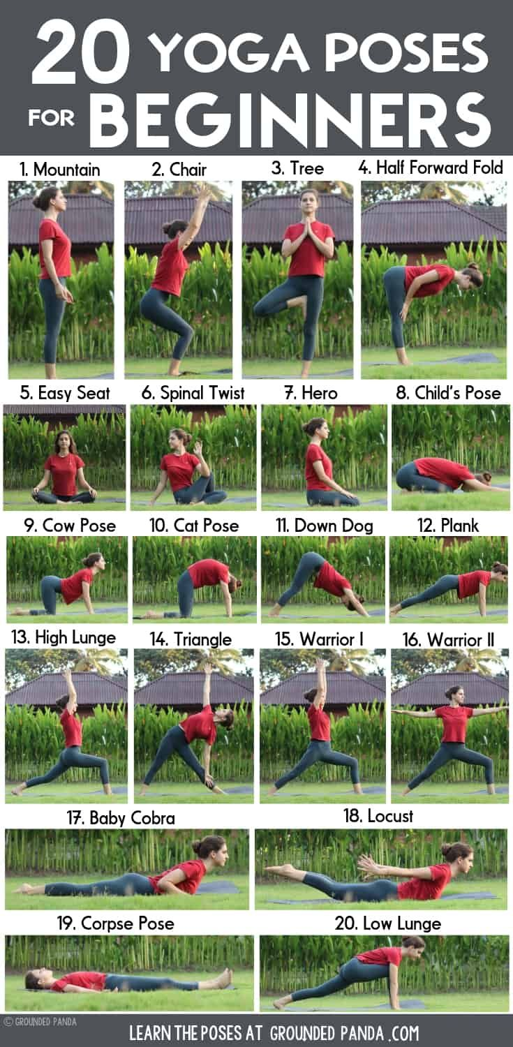 20 Yoga Poses for Complete Beginners (+ Free Printable)