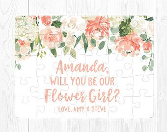 Flower Girl Proposal Gift Flower Girl Puzzle Proposal Will You Be My Flower Girl Proposal Puzzle Peach Flower Girl Gift Proposal Pink Green
