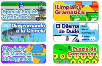 Spanish games for kids: Unos juegos en español de Scholastic. Lots of games for kids learning Spanish to practice Spanish vocabulary at different levels.