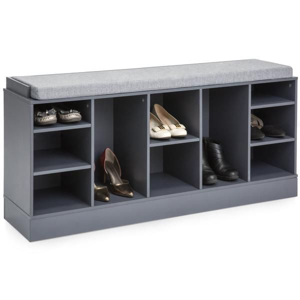 Shoe Storage Rack Bench W Padded Seat 10 Cubbies Shoe Storage Rack Shoe Rack Bench Shoe Storage