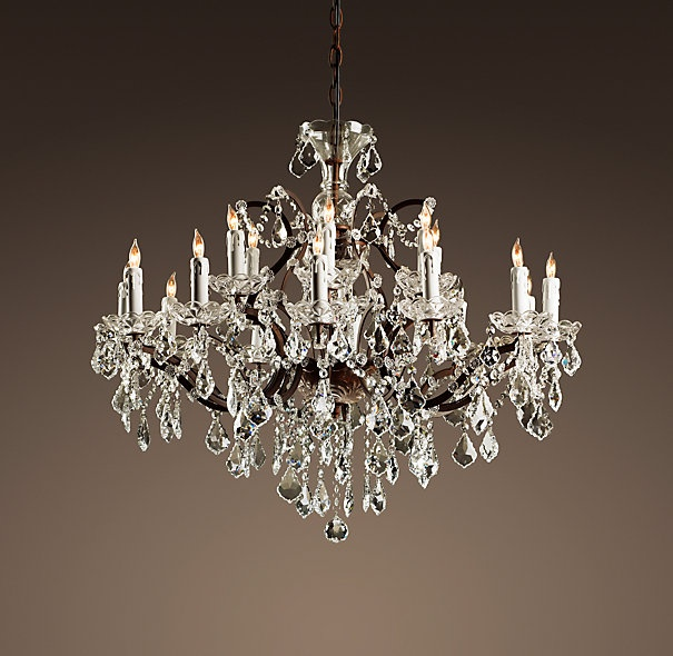 19TH C ROCOCO IRON CRYSTAL CHANDELIER MEDIUM Inspired By The Opulence Of Victorian English Chandeliers Dining Room