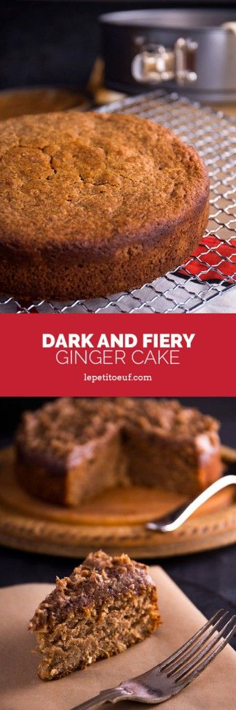 Dark and fiery ginger cake made with spelt and rye for a superb winter warmer of a cake.