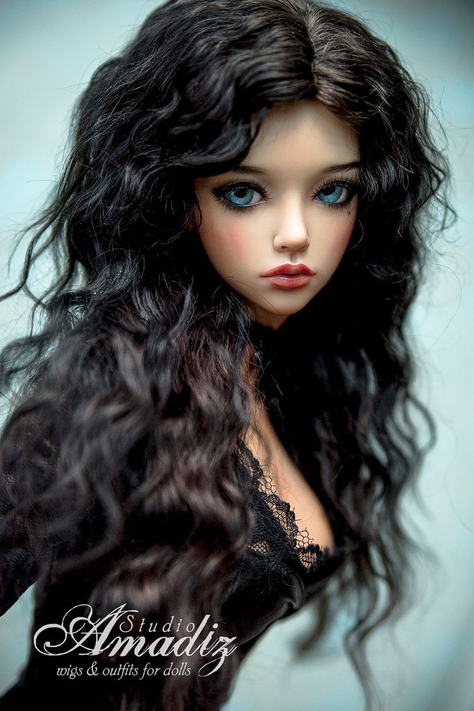 """Natural angora goat cosplay wig of Yennefer from """"The Witcher"""".  Beautiful lush black hair with natural curls your doll.   Available for order on our Etsy: www.etsy.com/ru/listing/267238843/yennefer-from-the-witch..."""
