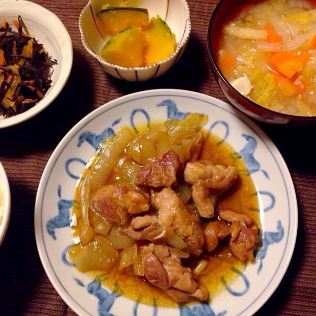 2015 2 27 - 23件のもぐもぐ - 鶏肉たまねぎのとろとろ煮、かぼちゃ煮物、ひじき、お味噌汁 by kaoriyma